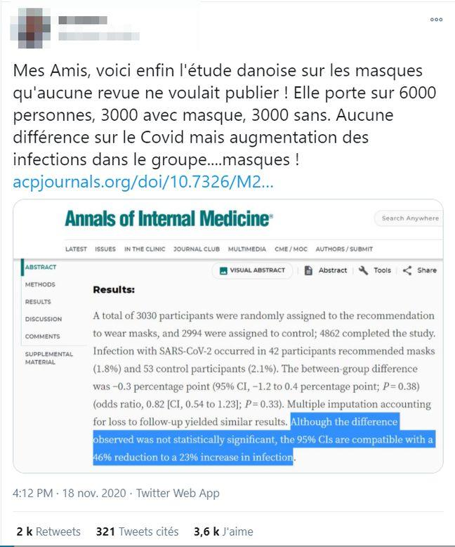 Dans cette publication Twitter, un autre internaute met en avant l'étude DANMASK-19.